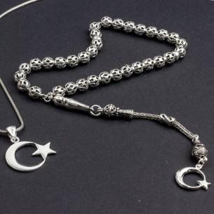 Ay Yıldız Tesbih ve Kolye Gümüş Seti Kombin