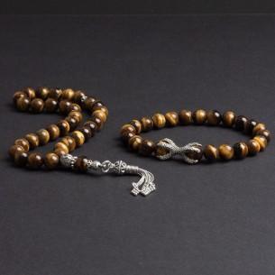 925er Silber Tigerauche Tesbih Gebetskette und Armband set