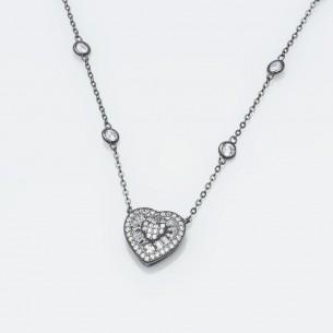 Kette mit Herzanhänger, Sterling Silber 925