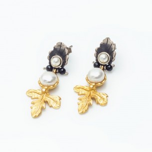 Goldplated Sterling Silver Earrings with Pearl