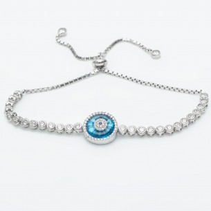 Evil Eye Bracelet In Sterling Silver