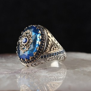 Blue Stone Handmade 925 Sterling Silver Ring