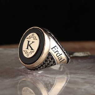 Black Onyx Stone Initial 925 Sterling Silver Ring