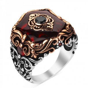 Red Cz Stone 925s Silver Men's Ring