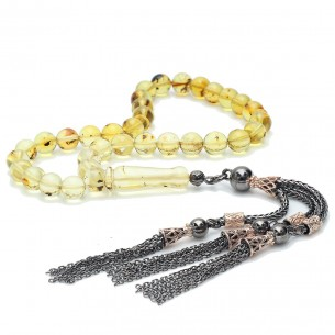 Genuine Amber Tasbih With insects 925s Silver Tassle