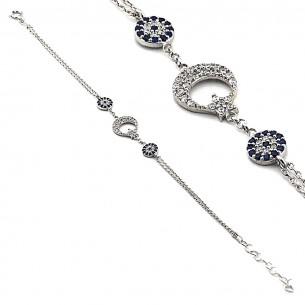 Evil Eye Bracelet In Sterling Silver