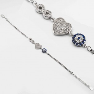 Nazar Armband aus 925 Sterling Silber mit Zirkonia
