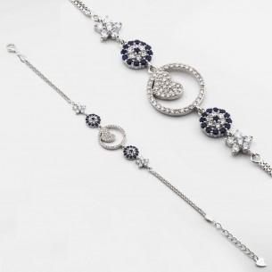 Heart Evil Eye Bracelet In Sterling Silver