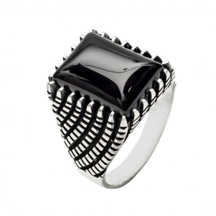 Onyx Stone 925s Silver Men's Ring