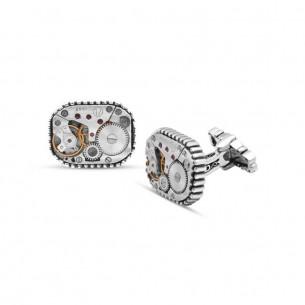 Saat Mekanizmalı 925 Ayar Gümüş Kol Düğmesi