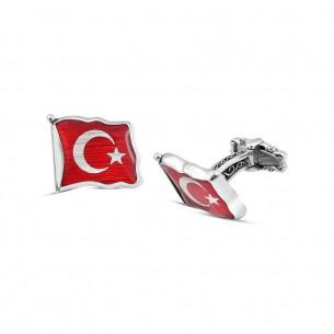 Dalgalı Türk Bayraklı Mineli Kol Düğmesi