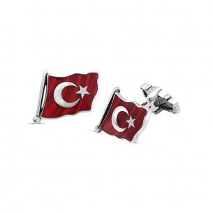 925s Silver Turkey Flag Cufflinks
