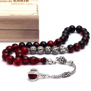 Sıkma Kehribar İsimli Tesbih - Bernstein Gebetskette mit Namen aus 925 Silber