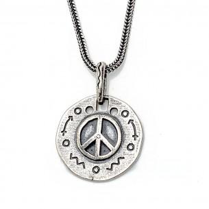 Peace Symbol 925 Sterling Silver Men Necklace