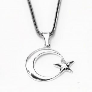 925 Ayar Gümüş Ay Yıldız Erkek Kolye -2