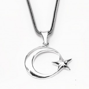 Moon Star Necklace in 925 Sterling Silver -2