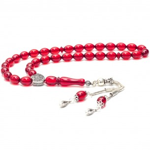 Red Amber Tasbih With 925s Silver Tassle