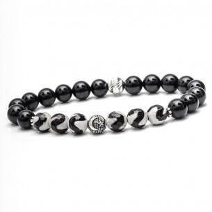 925er Silber Ay Yildiz Armband mit Achat und matt Onyx