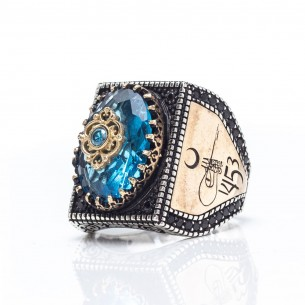 1453 Istanbul Blue Stone Handmade 925 Sterling Silver Ring