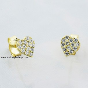 Heart Silver Earrings with Cz Zirkonia