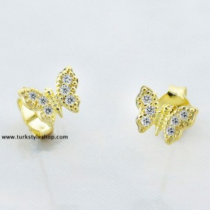 Butterfly Silver Earrings with Cz Zirkonia