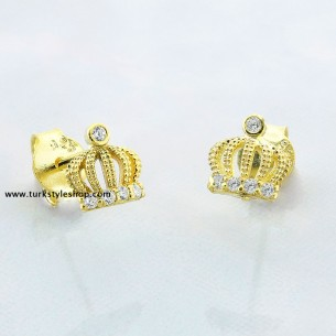 Queen Crown Silver Earrings with Cz Zirkonia