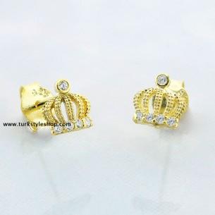 Queen Crown Silver Earrings...
