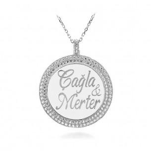 Taşlı İsimli Harfli Özel Gümüş Madalyon