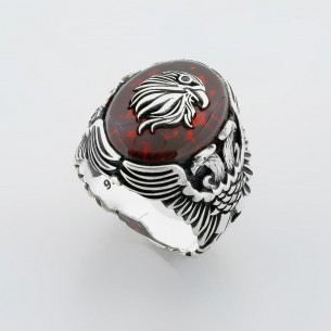 Artificial Amber Handmade 925 Sterling Silver Ring