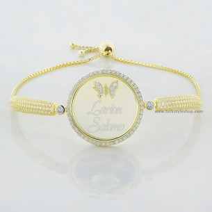 Name Silver Bracelet with Butterfly
