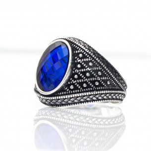 Blue Cz Stone 925s Silver Ring