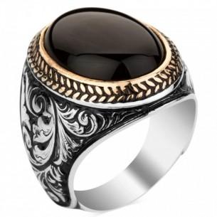 Schwarzer Onyx 925er Silberring