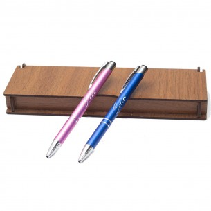 İsimli Kalem Seti ve Not Yazili Ahsap Hediye Kutu