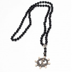 925 Sterling Silver Men Necklace with onyx stones