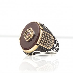 Agate Stone 925s Silver Signet Ring