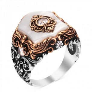 Mother Of Pearl Stone 925s Silver Men's Ring