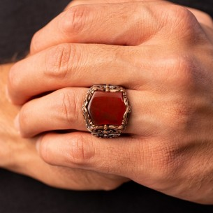 Aqeeq Stone Handmade 925 Sterling Silver Ring