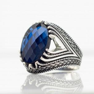 Herren 925er Silberring mit Blau Zirkon