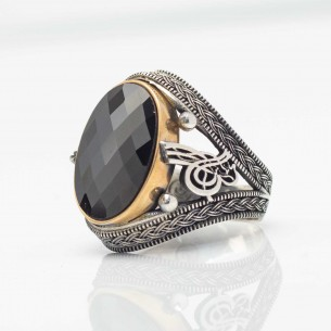 925s Silver Ottoman Tugra Signet Ring with Onyx Stone