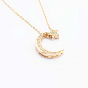 Moon Star Necklace in...