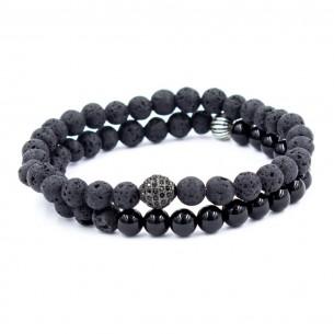 925er Silber Armband mit Onyx Lava