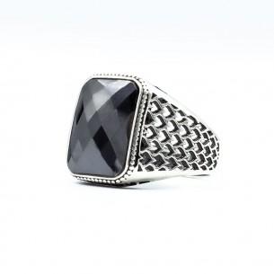 Black Cz Stone 925s Silver Ring