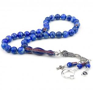 Lapis Lazululi Gemstone TrabzonSpor Silver Prayer Beads