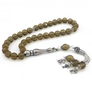 Zultanit Stone Silver Initial Tassel Prayer Beads Tasbih