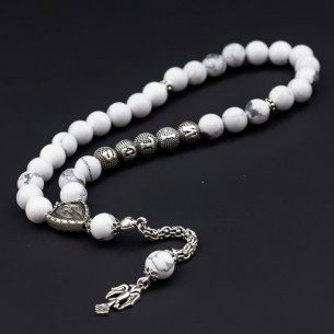 Howlit Stones Tesbih Misbaha with Name 925s Silver Tassel