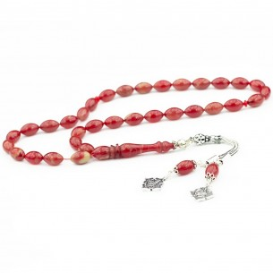 Artificial Amber w Silver Tassel Prayer Beads Tasbih
