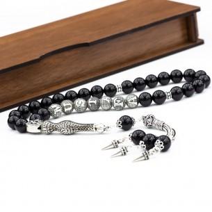 Black Onyx Stone Tasbih with 925s Silver Tassel Initials