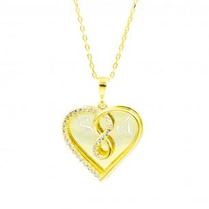 Zwei-Herzen-Kette mit Gravur aus 14K vergoldetem Silber