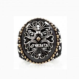 Siyah Oniks Taşlı Özel Tasarım Gümüş Yüzük
