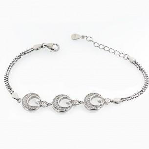 Sterling Silver Moon Star Bracelet